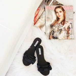 Shoes - 🆕Kara Black Satin Bow Slides Sandals Mules
